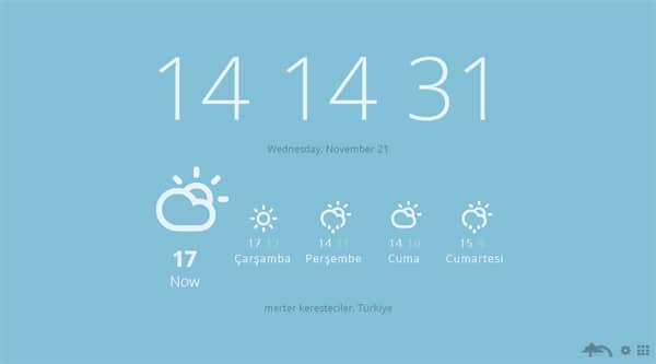 Uygulama yerinizi otomatik olarak bularak bulunduğunuz şehirdeki hava durumunu gösteriyor