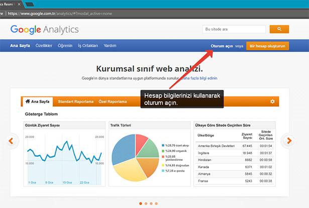 Analytics'ten site silmek: Bir web sitesi silmek için Google hesap bilgileriniz ile Analytics hesabınıza oturum açın