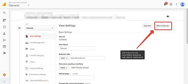 Analytics'ten site silmek: Silmek istediğiniz web sitesi çöp kutusuna taşınacaktır