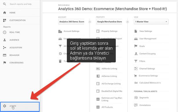 Analytics'ten site silmek: Yönetici bağlantısına tıklayarak silme seçeneğini görebilirsiniz